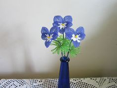French Beaded Flowers  Blue and White Pansies