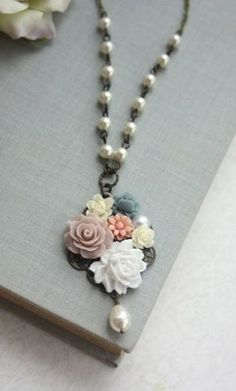 Flower Collage Necklace. White Taupe Blue Ivory Pearl