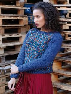 Jive - Knit this womens reverse stocking stitch sweater from Big Wool Colour, a design by Lisa Richardson using the beautiful Big Wool (wool) and Big Wool Colour (Wool and Polyamide) with long raglan sleeves and a wide round neck this knitting pattern is for the beginner knitter.