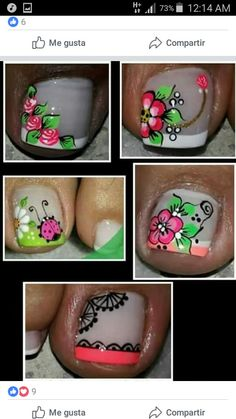 Uñas decoradas Cute Pedicure Designs, Toenail Art Designs, Fancy Nails Designs, Rose Nail Art, Rose Nails, Summer Toe Designs, Luv Nails, Dnd Gel Polish, Summer Toe Nails