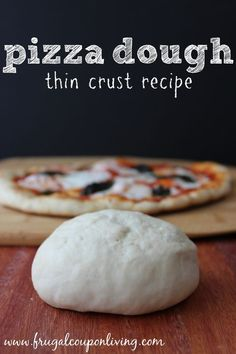 Thin Crust Pizza Dough Recipe - Directions by Hand or with KitchenAid #recipe #kitchenaid #pizza