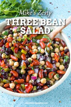 Mike's Zesty Three Bean Salad Recipe - My three bean salad recipe has just the right amount of tangy zing, with a mix of colorful beans, roasted peppers, fresh cilantro and more. via salads Mike's Zesty Three Bean Salad Recipe Three Bean Salad, Three Beans, Vegetarian Recipes Dinner, Vegan Bean Recipes, Garbanzo Bean Recipes, White Bean Recipes, Vegetarian Lunch, Chili Recipes, Chicken Salad Recipes