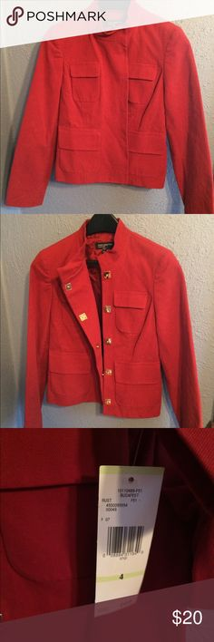 NWT Women's Red Military-Esque Blazer Jones New York size 4 blazer. High neck military style with pockets. Sassy gold square hidden snaps that are visible if blazer is left open. NWT!! Jones New York Jackets & Coats Blazers