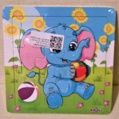 Childs 9 Piece Wooden Tray Jigsaw Puzzle of Blue and Pink Elephant Ref 1117 Pink Elephant, Giraffe, Wooden Jigsaw Puzzles, Cow, Tray, Games, Children, Blue, Kids
