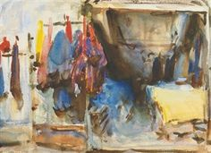 Interior of aShop, Cairo (Or, Tailor's Shop, Cairo) By John Singer Sargent ,1905