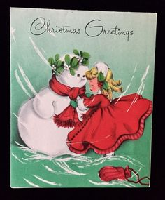 Unused VTG 50s Christmas Card Cute Little Girl in Red, Snowman, Forget-Me-Not