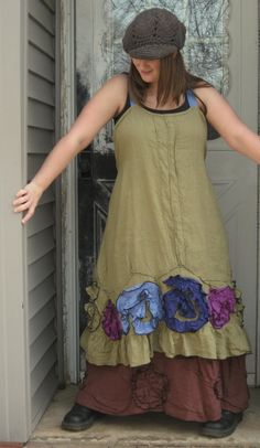 Green and Purple Flouncey Swirl Dress M by sarahclemensclothing