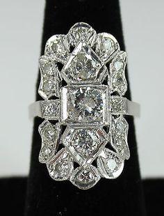 Antique Estate Art Nouveau Art Deco 14k White Gold 2.26ctw Diamond Ring c1920s