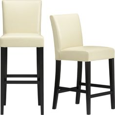 Lowe Ivory Leather Bar Stools  | Crate and Barrel