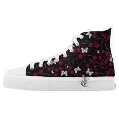 White Butterflies Printed Shoes
