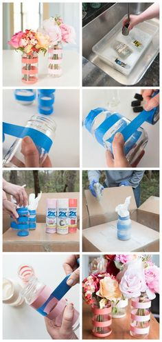 Keep your mason jars! I love this recycling craft. - UPCYCLING IDEASKeep your mason jars! I love this recycling craft., Preserve this jar handcraft love Upcycle Glass Bottle - DIY Bud Vases - UPCYCLING Upcycled Crafts, Diy And Crafts, Decor Crafts, Recycled Decor, Diy Crafts Vases, Easy Crafts, Paper Crafts, Nature Crafts, Diy Paper