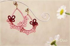 Flor de arrendamiento Pink - Pendientes motivos de encaje -