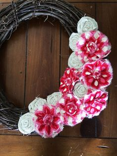 Watermelon Pink, Red and White Burlap and Fabric Wreath Attachment.