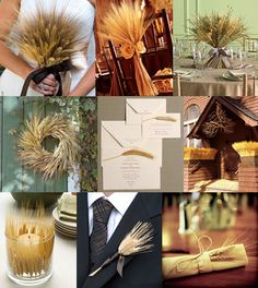 Use wheat as a wedding decor. Probably cheap, and it will fit the season! And the fact that we are Kansans. I like the wreath, the boutonniere, and the little sprigs used randomly. Not so much the bouquets.