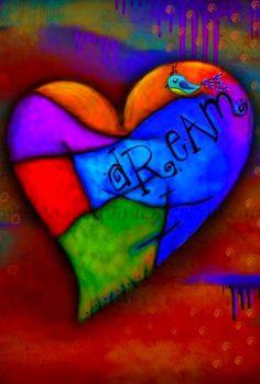 Set of 3 Dream Believe Imagine Art Prints by JaggedTouchStudio I Love Heart, Key To My Heart, Heart Art, Free Art Prints, Love Symbols, Over The Rainbow, Rock Art, Art Tutorials, Vivid Colors