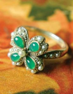 Victorian trading Co. - www.victoriantradingco.com - Seed Pearl & Snow Jade Serendipity Ring