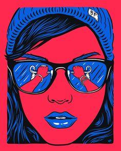Bicycle handlebar reflection in sunglasses Pop Art