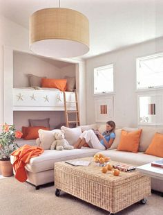 Sofa with built in bunk beds