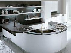 Modern italian black and white kitchen