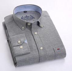 Free Shipping Men Shirt Long Sleeve Brand Business Casual Oxford Slim Fit Shirts Mens Solid Collar Dress Shirt Social 4XL X112