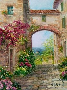 Country Tuscany - Italy Painting by Antonietta Varallo Landscape Drawings, Watercolor Landscape, Landscape Art, Landscape Paintings, Watercolor Art, Fine Art Amerika, Tuscany Landscape, Toscana Italy, Italy Italy