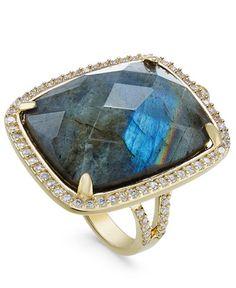 Paul & Pitü Naturally 14k Gold-Plated Pavé Labradorite Drama Ring