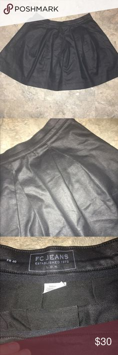 French Connection Faux leather skirt FC faux leather skater skirt! Never worn! Size large French Connection Skirts Circle & Skater