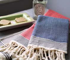 honeycomb fringed guest bath towel by ville et campagne | notonthehighstreet.com
