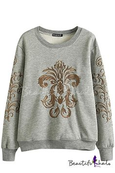 Golden Totem Embroider Round Neck Long Sleeve Sweatshirt, Fashion Style Hoodies & Sweatshirts