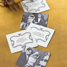 """Entertaining pro Darcy Miller shares her secrets for turning old photographs and family history into unforgettable party favors. Here she shares her idea for toast cards.""""I like to make toast cards with a specific question on the back, like, 'What was your first impression of the couple?'"""" Darcy says. """"It helps people relax about what they're going to say."""" Download the clip art"""