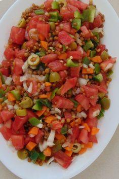 Ensalada de lentejas con tomate y cebolla paso a paso Vegetarian Recipes, Healthy Recipes, Tapas, Food And Drink, Favorite Recipes, Cooking, Ethnic Recipes, Ideas Fáciles, Gluten