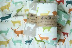 Organic Baby Blanket, Elk Family Baby Blanket, Toddler Blanket, Deer Blanket by JuteBaby