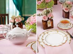 Royal Crown Derby Elizabeth Gold place settings with a Wedgwood Petal teapot for super elegant afternoon tea setting