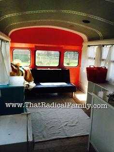 School Bus Conversion Skoolie in progress tiny house tiny home ThatRadicalFamily.com