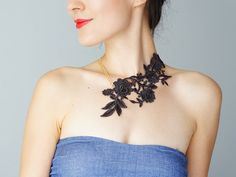 Lanata // Dark Gray Necklace/ Lace Necklace/ Lace Jewelry/ by EPUU