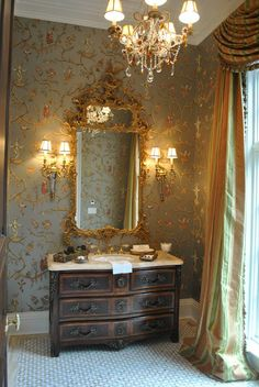 My Scalamandre 'Ming Circus' with a silver background in a gorgeous powder room. This is the perfect wallpaper for spaces like this, damn the cost!
