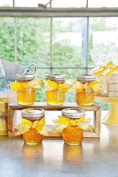 Mason jars with honey - great favor idea. Photo by Perez Photography. www.wedsociety.com #wedding #favor