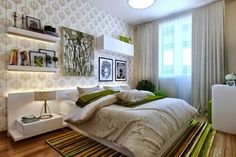 Bedroom Wall Designs is a huge topic and it's an entire ocean in which you can get many ideas, going for fabric can serve as a good idea. Beautiful Bedroom Designs, Bedroom Wall Designs, Modern Bedroom Design, Master Bedroom Design, Beautiful Bedrooms, Bedroom Decor, Bedroom Ideas, Green And White Bedroom, Suites