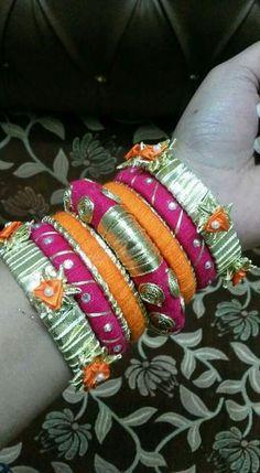 Bridal Bangles, Silk Thread Bangles, Thread Jewellery, Tassel Jewelry, Handmade Jewellery, Gota Patti Jewellery, Rakhi Bracelet, Haldi Function, Designer Bangles