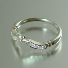 DELIGHT silver wedding band with white sapphires by WingedLion, $255.00