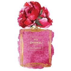 Chanel No5 art 8x10 Pink Peony watercolor Gold effect Printed Coco... ❤ liked on Polyvore featuring home, home decor, wall art, pink flamingos poster, gold home accessories, pink tote, gold wall art and pink flamingo wall art