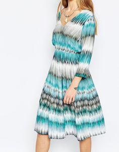 Image 3 of Diya Skater Dress In Multi Stripe Print