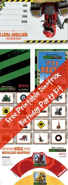Free Printable Dinotrux Birthday Party Kit :http://www.asparkleofgenius.com/dinotrux-1st-birthday-party-kit/