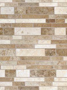 Multi color travertine mix subway backsplash tile. Dark, Medium and Light Brown Mixed http://backsplash.com/