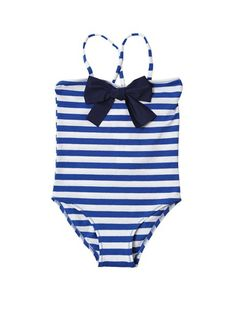 Girls striped bathing suit in nautical look from Il Gufo