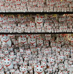 Gotokuji is said to be the birthplace of Maneki Neko, the beckoning cat. The Buddhist temple is located in Setagaya, Tokyo and has a beautiful display of the lucky ceramic cats.