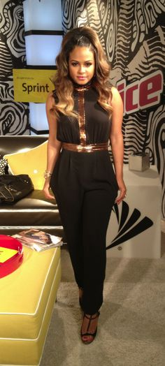 Christina Millian looking fabulous in the camilla + marc Estate Jumpsuit on The Voice