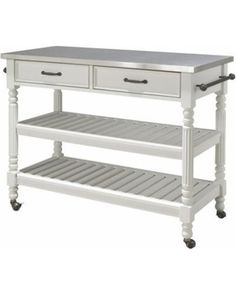 Home Styles White Wood Base with Stainless Steel Metal Top Kitchen Cart x x at Lowe's. The Savannah Kitchen Cart features hardwood solid and engineered wood construction in a white finish with a stainless steel top and dark antiqued bronze White Kitchen Cart, Kitchen Island Cart, White Kitchen Island, Kitchen Tops, Kitchen Carts, Kitchen Islands, Kitchen Stuff, Space Furniture, Kitchen Furniture