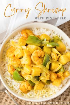 Pineapple Shrimp, Pineapple Curry, Curry Shrimp, Gluten Free Rice, Food Hacks, Meal Prep, Seafood, Lunch, Stuffed Peppers