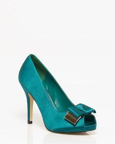 Menbur Satin Bow Peep Toe Pump Teal, Turquoise, Satin Bows, Peep Toe Heels, Party Shoes, Fashion Shoes, Shoe Boots, Stockings, Footwear